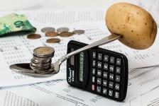 מחשבון המשמש כמאזניים, מצד אחד תפוח אדמה, מהצד השני מטבעות - כאנלוגיה לכלכלת הבית