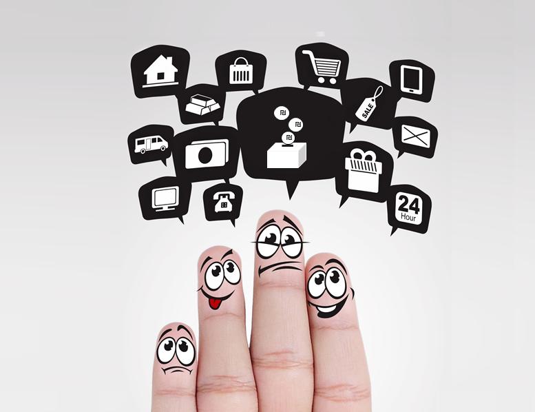 תמונה של אצבעות עם אייקונים של מושגים פיננסיים